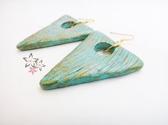Items similar to Off Triangle Ceramic Earrings / Turquoise CeramicTriangle Stones / Gold Plated Ear Loop / Handmade Earrings on Etsy Handmade Jewellery, Earrings Handmade, Striped Sandals, Stone Gold, Gold Stripes, Ear Loop, Ss 15, Boho Earrings, Triangle