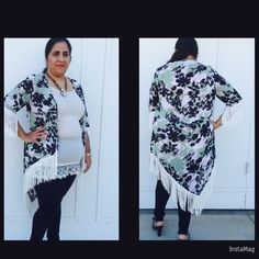 Reduced   High low fringe cardigan Floral print , semi sheer kimono style hi-lo fringed cardigan in teal. 100% polyester . Other sizes also available . Sweaters Cardigans