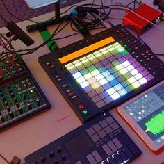 Push 1 with Samplr iOS app. Here's another view of Alien9x's Push/Live rig I posted yesterday - note the Focusrite Scarlett interface at the top right, I think that's the Solo, and the Korg NanoKey Studio at bottom left. Nice setup.  #abletonlive #ableton #abletonlive9 #abletonpush #abletonlivetutorials #learnlive #livepacks #control #liveperformance #performance #midi #musicproducer #tips #abletoncertifiedtrainer #push #focusritescarlett #samplr #trainer #nanokey @ableton @studioone.london…