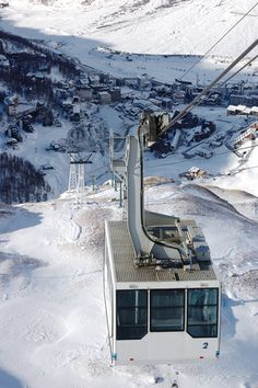 A cable car at the mountain resort of Cervinia, The Matterhorn, Italy