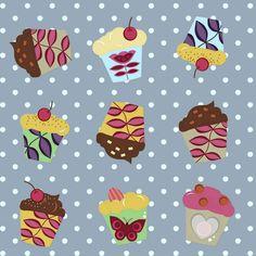blue aime cupcakes fabric by scrummy on Spoonflower - custom fabric
