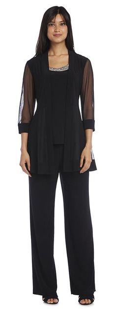 R&M Richards Long Pant Suit Dress Black Formal Jacket Plus Size Pants, Plus Size Dresses, Plus Size Outfits, Formal Pant Suits, Formal Dresses, Formal Jacket, Pageant Dresses, Maxi Dresses, Evening Blouses