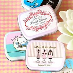 Exclusive Personalized Bridal Shower Mint Tins by Beau-coup Homemade Wedding Favors, Inexpensive Wedding Favors, Wedding Shower Favors, Wedding Reception, Unique Bridal Shower, Bridal Showers, Mint Tins, Printable Bridal Shower Games, Bridal Luncheon