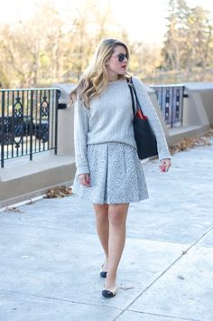 Shades of Grey: Cashmere Cableknit and Tweed Skirt