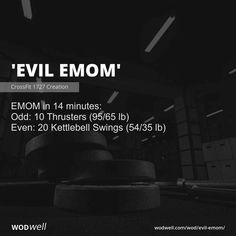 EMOM in 14 minutes: Odd: 10 Thrusters lb); Even: 20 Kettlebell Swings lb) Crossfit Workouts At Home, Kettlebell Cardio, Kettlebell Swings, Crossfit Gym, Trx, Hiit, Body Workouts, Crossfit Exercises, Emom Workout