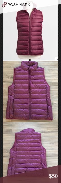 J Crew Channeled puffer vest size medium NWT J Crew Channeled puffer vest size medium brand new with tags color is burgundy PRODUCT DETAILS Poly. Hits at hip. Standing collar. Zip closure. On-seam pockets with hidden zip closure. Machine wash.  Item C9754. J Crew Jackets & Coats Vests