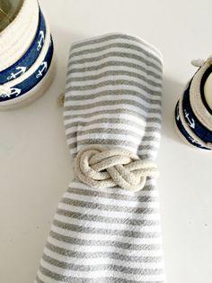 Set -15 nautical wedding napkin ties/rings-figure 8 knot. Natural white cotton rope. by omorfigiadesigns on Etsy https://www.etsy.com/listing/222925482/set-15-nautical-wedding-napkin-tiesrings