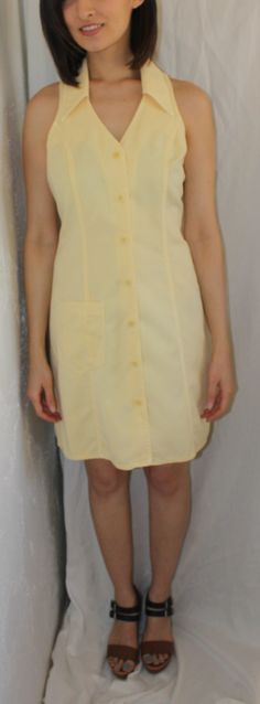 SALE: Vintages 90's Summer Yellow Collared Sleeveless Dress M/L