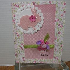 Handmade Easter Greeting Card with Bunny and Flowers