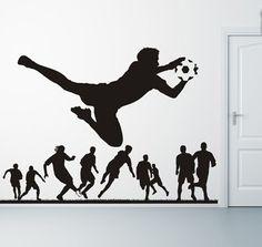 Soccer Player Soccer Goalie wall decal Sport Football Kicking ball  wall sticker teen room boys bedroom wall sticker decor art  tr851 (29.99 USD) by BeaCreativeDesigner