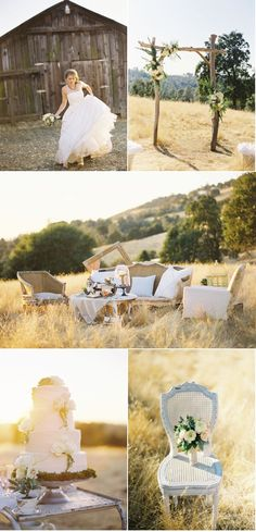 I just la-la-la-love this wedding inspiration from Blush Bridal & Events . The California light is full-on bliss and Bret Cole Photography captures it magnificently! Chic Wedding, Rustic Wedding, Our Wedding, Dream Wedding, Wedding Lounge, Wedding Reception, Blush Bridal, Fall Wedding Dresses, Romantic Weddings