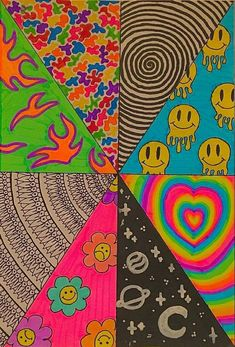 Simple Canvas Paintings, Small Canvas Art, Mini Canvas Art, Diy Canvas, Canvas Painting Designs, Easy Canvas Art, Hippie Painting, Trippy Painting, Hippie Drawing