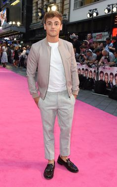 Team GB's Olympic bronze-medalist Tom Daley arrives at the premiere.
