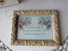 BEAUTIFUL Christie REPASY Print Pink White ROSES with BIBLE VERSE Gesso FrameNR