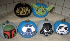 Mini Star Wars pumpkins I hand painted for my son :)