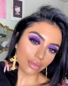 Baroque Cross Earrings Link in bio to shop! Rave Makeup, Red Lip Makeup, Glam Makeup, Bridal Makeup, Beauty Makeup, Makeup Geek, Wedding Makeup, Purple Smokey Eye, Purple Eyeshadow