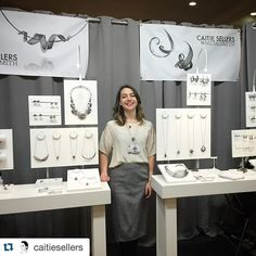 ACC craft show booth display. Caitie Sellers. White and grey minimalist design.
