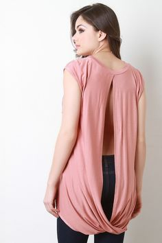 a746cfffed49a Jersey Knit High Low Open Back Top