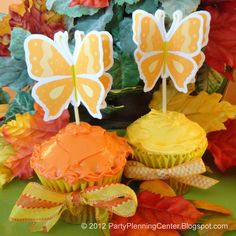 Free 3D Indian Summer Butterfly Cupcake Topper Printable