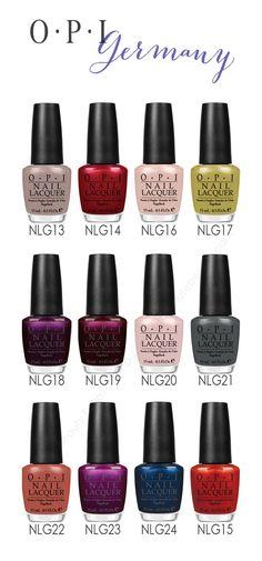 OPI Nail Polish Germany Collection Opi Nail Colors, Fall Nail Colors, Joy Nails, Beauty Nails, Opi Nail Polish, Nail Polishes, Colorful Nail Designs, Colorful Nails, Nails Only