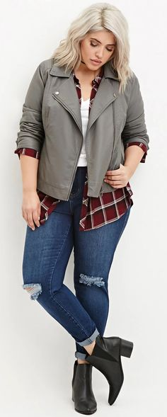 Leather moto jacket over plaid, ripped jeans | Plus Size Fashion - Plus Size Faux Leather Moto Jacket