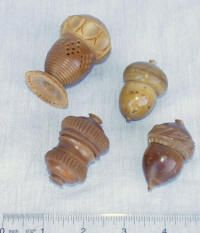 4 Victorian Vegetable Ivory Thimble Holders