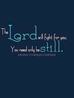 """The Lord will fight for you. You only need to be still.""  Sweet Blessings: SB Special Requests"