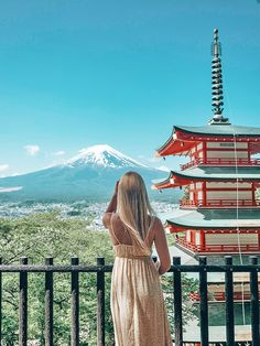Woman standing in front of mt fuji Japan Destinations, Amazing Destinations, Japan Travel Tips, Travel Guide, Solo Travel, Train Travel, Day Trips From Tokyo, Universal Studios Japan, Travel Inspiration