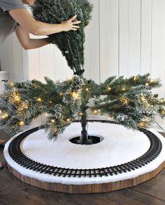 Christmas Tree Train, Diy Christmas Tree Skirt, Christmas Trees For Kids, Christmas Village Houses, Indoor Christmas Decorations, Christmas Tree Themes, Christmas Villages, Outdoor Christmas, Christmas Holidays
