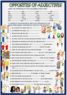 Opposites of adjectives in sentences - English ESL Worksheets for distance learning and physical classrooms English Adjectives, English Grammar Worksheets, English Sentences, Vocabulary Worksheets, English Vocabulary, Printable Worksheets, Opposites Worksheet, Adjective Worksheet, Learning English For Kids