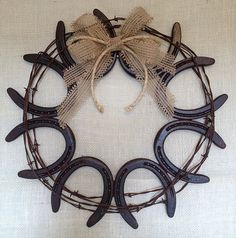 Horseshoe and Barb Wire Wreath on Etsy, $38.00