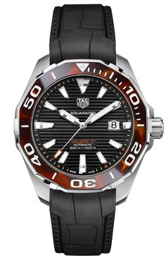 Inspired by the sunlight reflecting off the ocean waves, the luxury watchmaker has created a magnificent tortoiseshell effect on the Aquaracer bezel using an innovative resin technique. The Aquaracer 43 mm Tortoise Shell Effect Special Edition is available with a contemporary brown tortoiseshell pattern on the bezel and a black sunray brushed dial with horizontal stripes. The pattern on this version is made with an innovative resin effect — a first for TAG Heuer. Tag Heuer, Ocean Waves, Tortoise Shell, Casio Watch, Sunlight, Resin, Stripes, Contemporary, Inspired