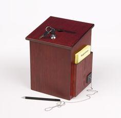 Wooden Ballot Box w/ Side Pocket, Pen & Lock, Wall or Countertop - Red Mahogany