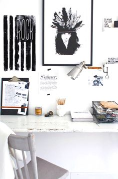 Black and white work space with mini gallery wall