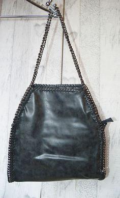 Pewter Metal Chain Ladies Womens Designer Shoulder Bag in Black 56394d8fa12eb