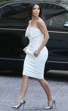 kim kardashian steps out in all white for her bridal shower
