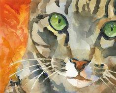 Tabby Cat Art Print of Original Watercolor by dogartstudio on Etsy, $24.50