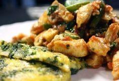 Zöldségekkel sült csirkemell spenótos puliszkával recept
