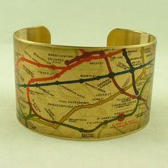 Vintage London Underground Railways Map Brass Cuff Bracelet - Map Jewelry. $40.00, via Etsy.