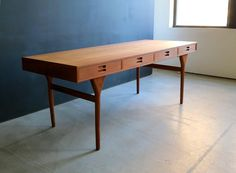 Modernist Freestanding Teak Desk with Four Drawers by Nanna and Jørgen Ditzel 4