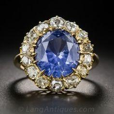 4.80 Carat No Heat Sapphire and Diamond Vintage Halo Ring