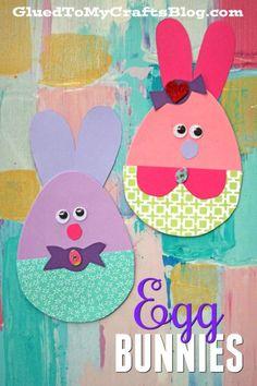 Craft Foam Egg Shapes Turned Adorable Easter Bunny Friends - Kid Craft #kidcrafts #gluedtomycrafts #easter