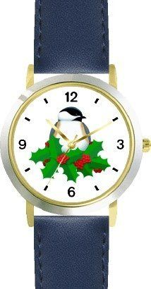 Black Capped Chickadee & Christmas Mistletoe - JP - WATCHBUDDY® DELUXE TWO-TONE THEME WATCH - Arabic Numbers - Blue Leather Strap-Size-Children's Size-Small ( Boy's Size & Girl's Size ) WatchBuddy. $49.95
