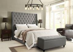AmazonSmile: Diamond Sofa Park Ave Tufted California King Panel Bed in Gray…