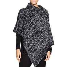 Eileen Fisher Asymmetric Poncho ($258) ❤ liked on Polyvore featuring outerwear, eileen fisher, black poncho and eileen fisher poncho