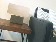 concrete  table lamp  with wood veneer by yournestinspired on Etsy, $298.00