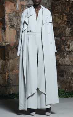 Mist Grey Crepe Wrap Pants by Rosie Assoulin for Preorder on Moda Operandi