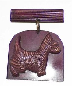 Vintage Early Bakelite Brass Dog Pin