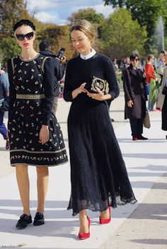 Ulyana Sergeenko  black lace skirt