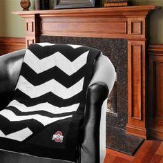 Ohio State Buckeyes Chevron Throw Blanket